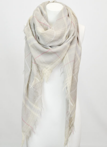 Gray Mix Plaid Lightweight City Scarf - Southern Rae's