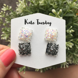 Double White + Charcoal Druzy Earrings - Southern Rae's