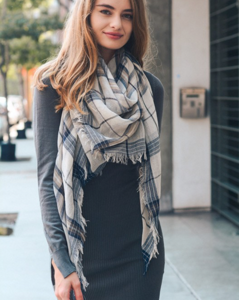 Navy Mix Plaid Lightweight City Scarf - Southern Rae's
