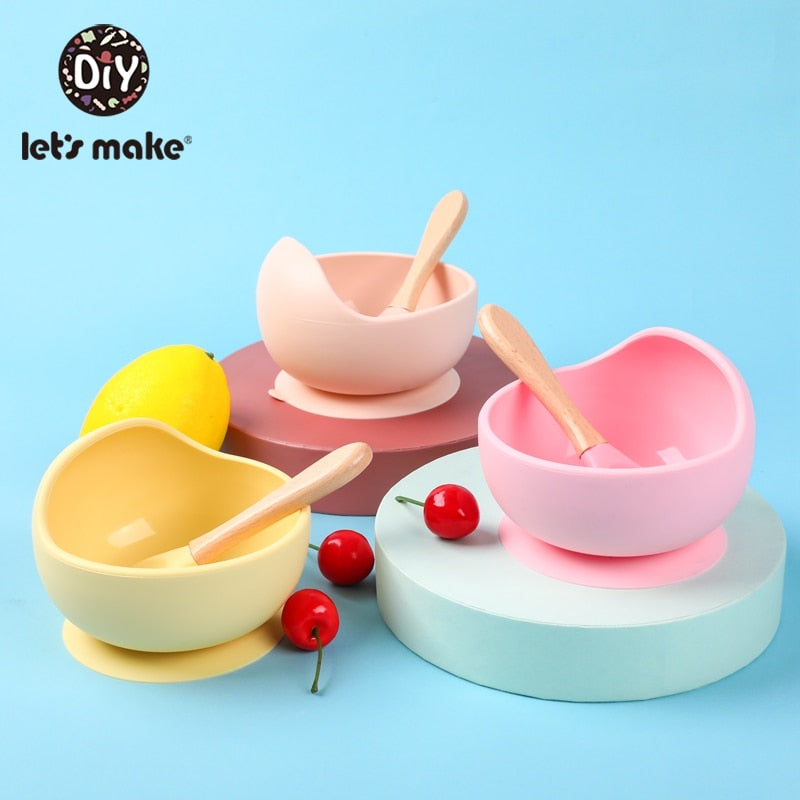 Let's Make Non-Slip Silicone Baby Feeding Set - Bowl & Wooden Soon