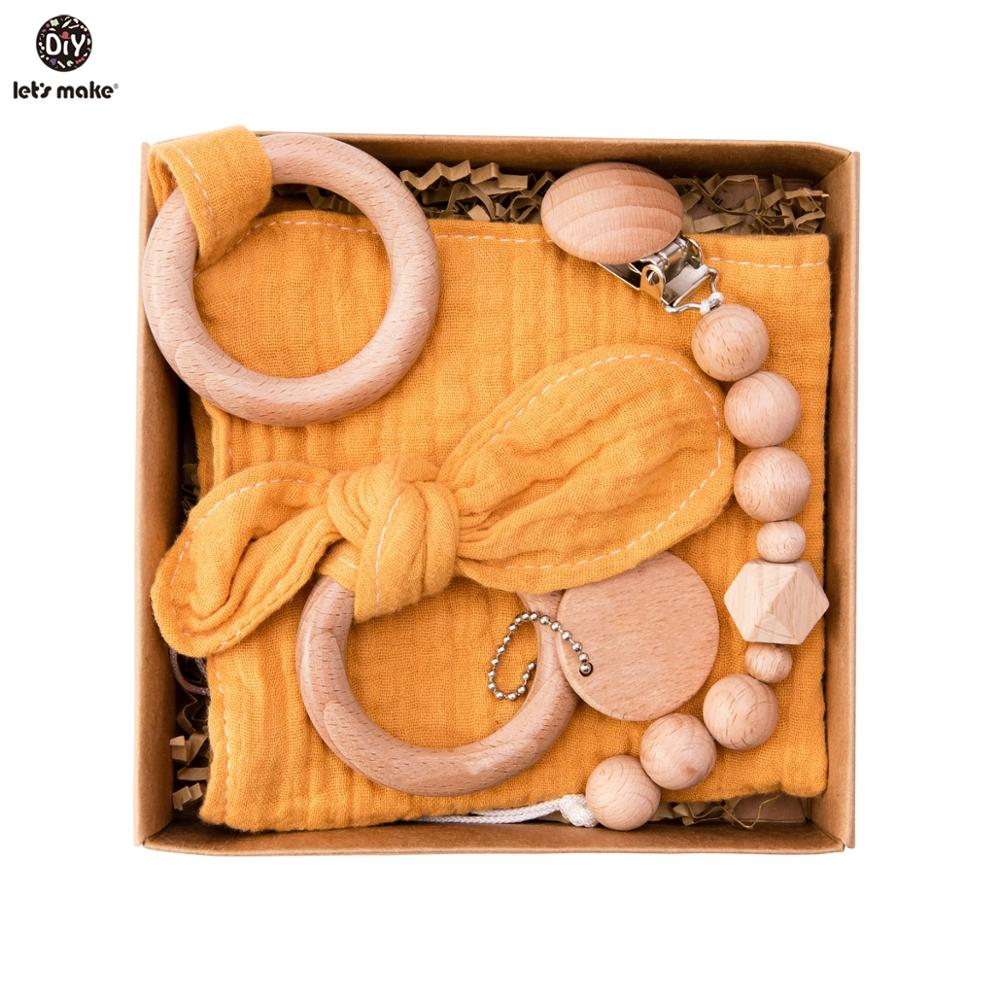 Baby Bath Toy Set with Cotton Blanket & Wooden Rattle