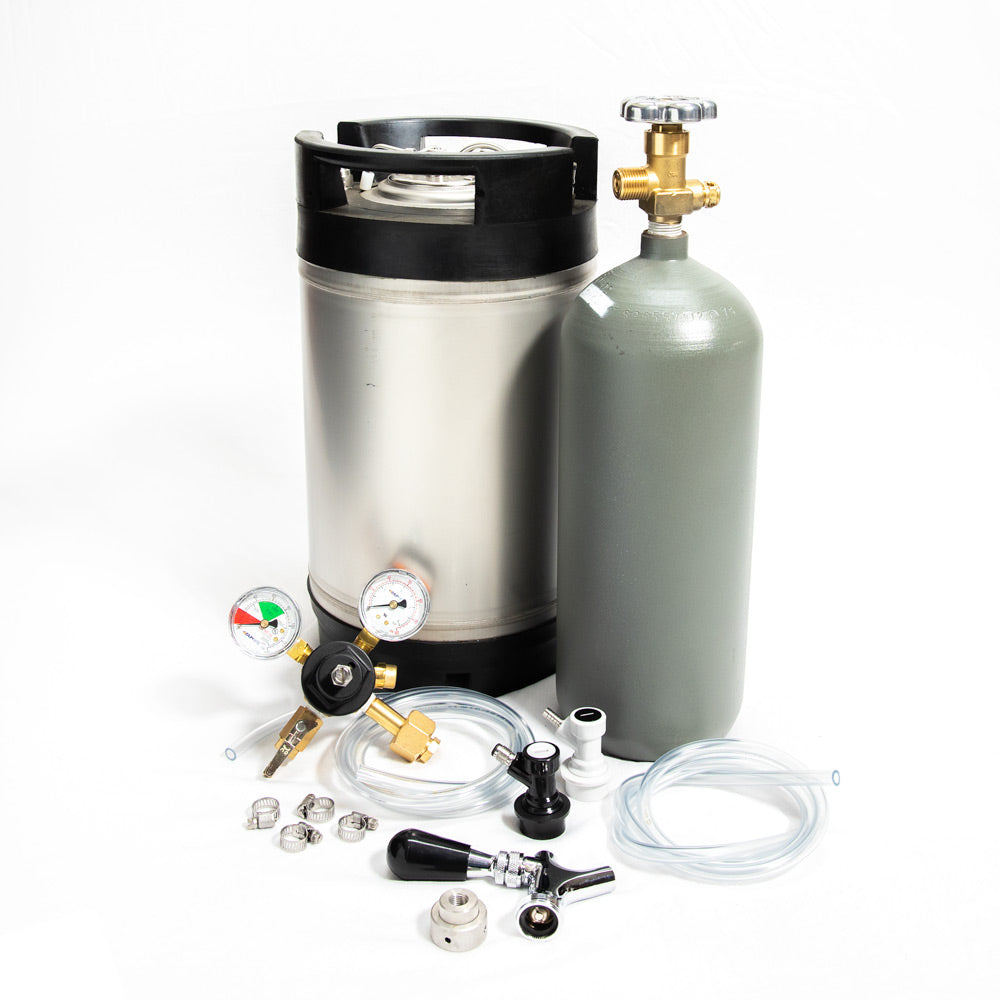 Whole Enchilada 3 Gallon New Ball Lock Keg Kit 5lb. Cyl. and Beer Faucet