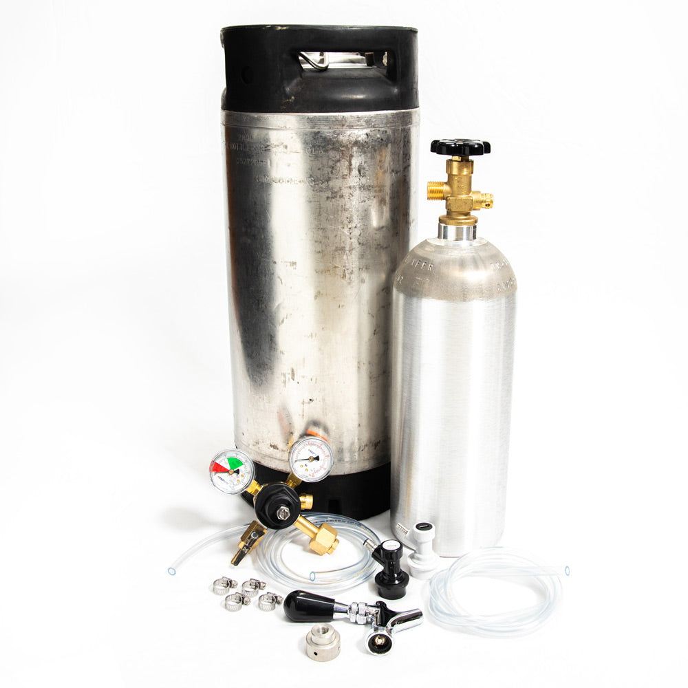 Whole Enchilada 5 Gallon Ball Lock Keg Kit New 5lb. Alum. Cyl. and Beer Faucet
