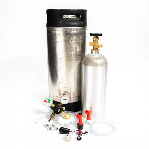 Whole Enchilada 5 Gallon Pin Lock Keg Kit New 5lb. Alum. Cyl. and Beer Faucet