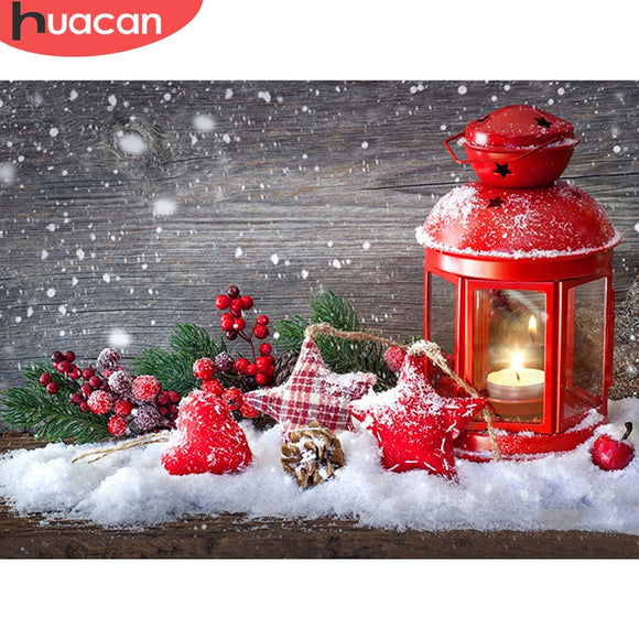 HUACAN 5D Diamond Painting Christmas Landscape Full Square Drill Home Decoration Handcraft Art Kits Embroidery Picture
