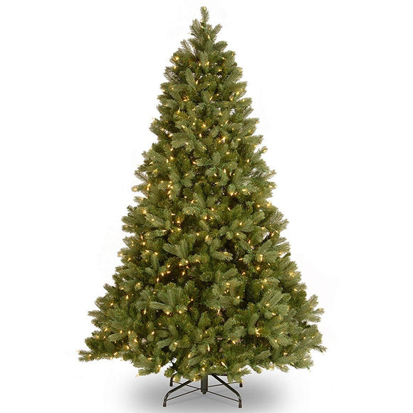 6ft/7ft/8ft Artificial Christmas Trees with Lights Holiday Home Decoration Snow Flocked Christmas Tree New Year Green Tree-WWO66