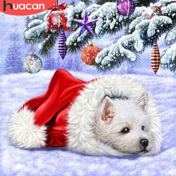 HUACAN 5D DIY Diamond Embroidery Dog Full Square Round Craft Kit Sale Diamond Painting Animal Mosaic Winter Christmas Gift Art