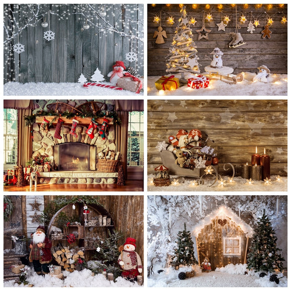 Laeacco Vinyl Wood Christmas Backgrounds For Photography Winter Snow Snowman Gift Baby Newborn Portrait Photo Backdrop Photocall