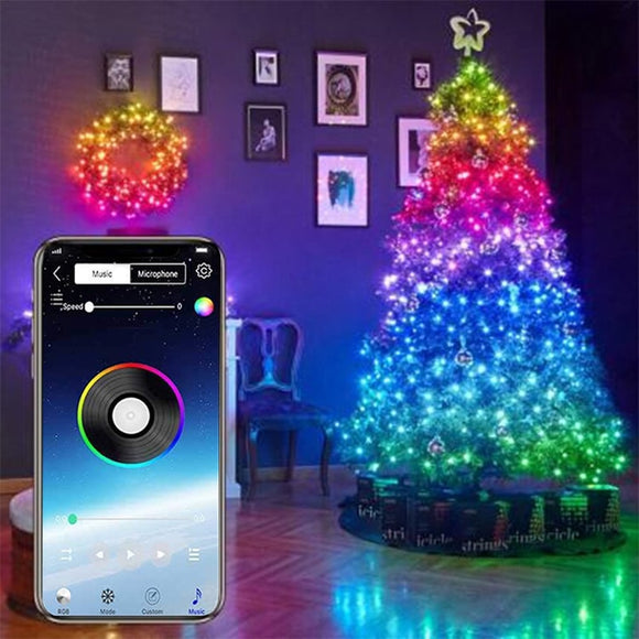 Christmas Tree Decoration LED String Lights Smart Bluetooth Personalized RGB String Lights Customized App Remote Control Lights