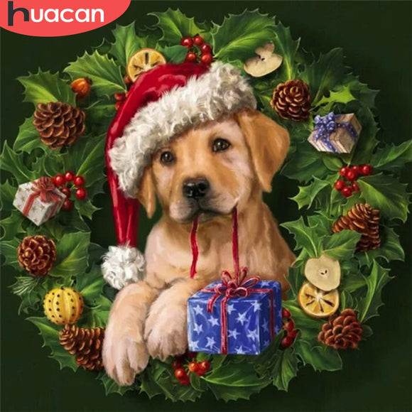 HUACAN 5D Diamond Painting Dog Full Square Drill Cross Stitch New Arrival Diamond Embroidery Animal Mosaic Christmas Decoration
