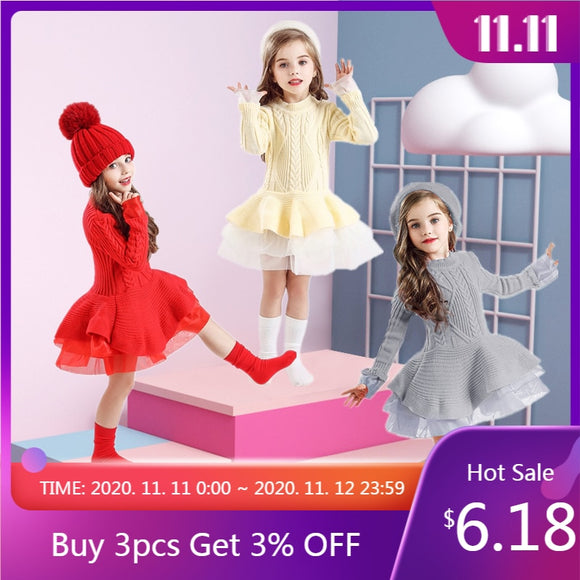 Knitted Sweater Dress for Girls Autumn Winter Clothes Ribbed Long Sleeve Kids Party Costume Casual Wear Princess Christmas Dress