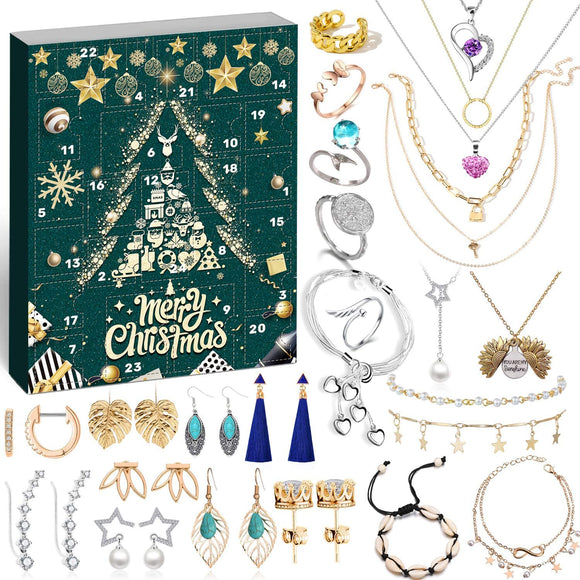 Jewellery Advent Calendar 2020 for Women Girls, 24 Surprises with Necklace Earrings Rings Bracelets Anklet Jewelry Calendar for