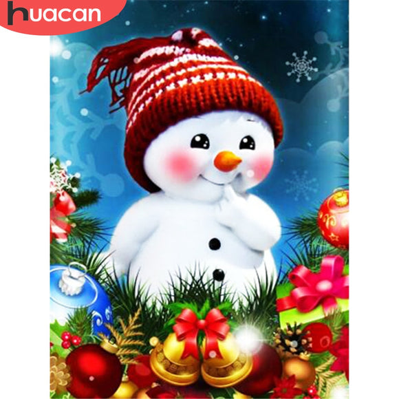 HUACAN Full Square Round Diamond Painting Snowman Diamond Embroidery Cartoon Mosaic Christmas Decorations For Home
