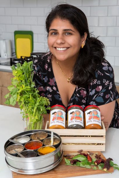 Founder of Dolly Mumma Perzen Patel photographed with her spice pastes
