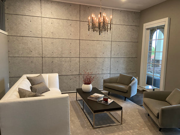 Urban concrete faux concrete wall in a living room setting