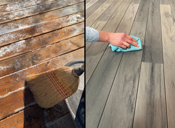 Left image is of a wood deck being swept with a broom. Right image is LANAI decking being wiped off with a grey cloth