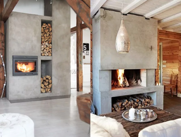 Real poured concrete fireplaces