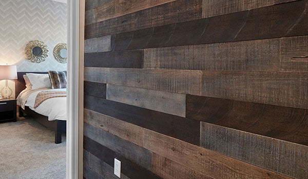 reclaimed wood bedroom wall