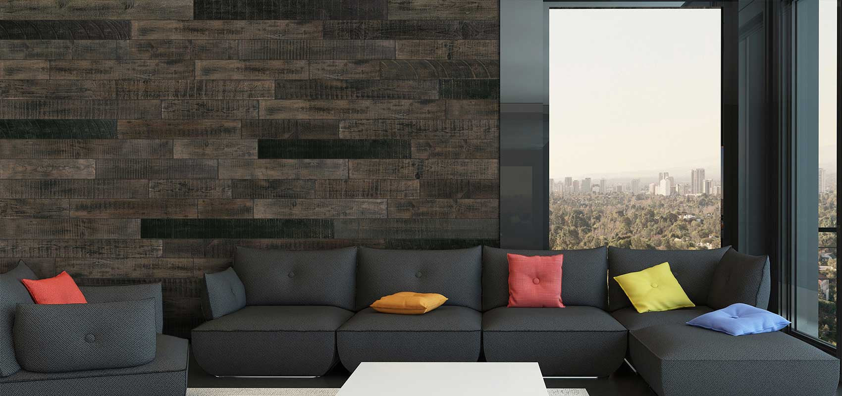 black reclaimed wood living room