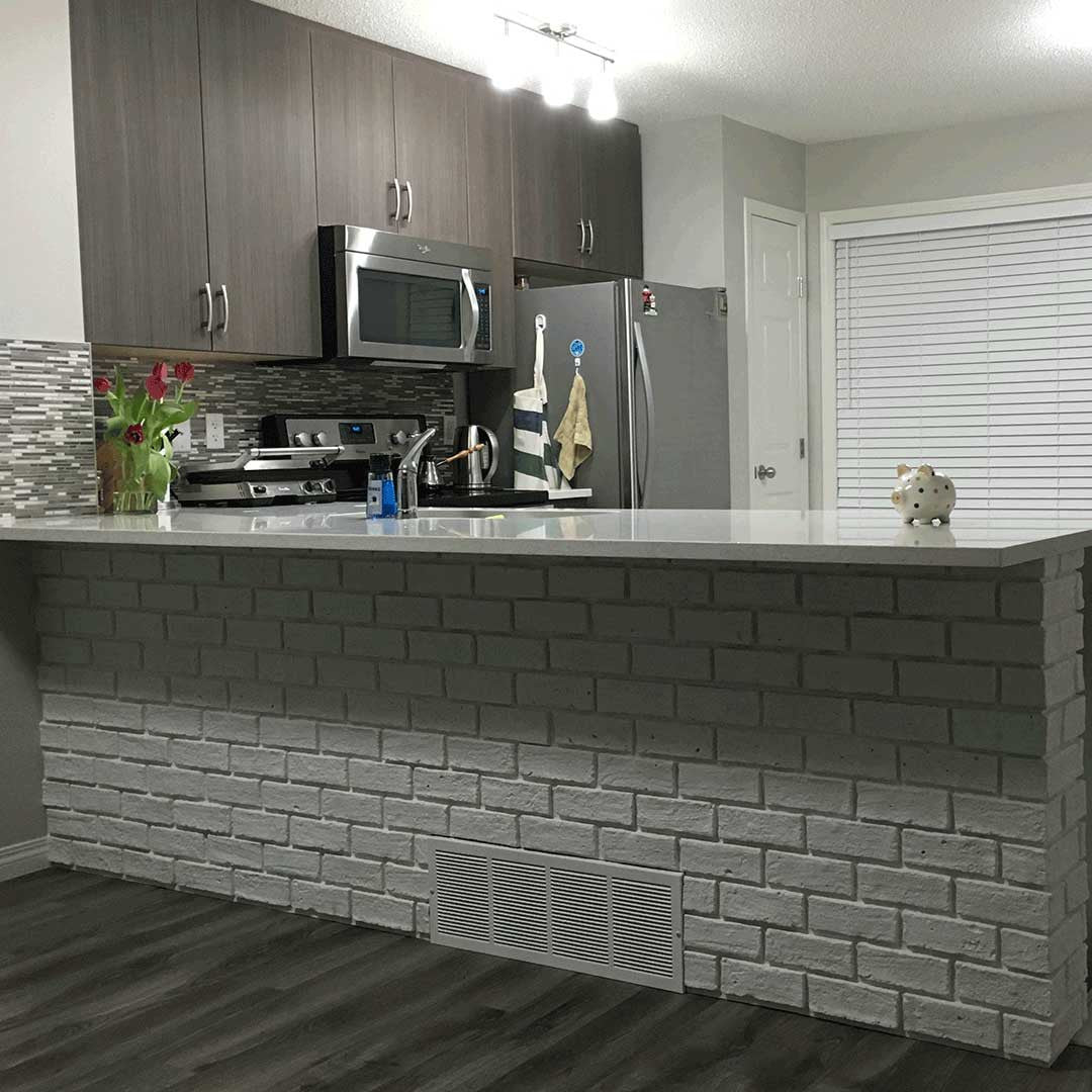 faux brick kitchen island