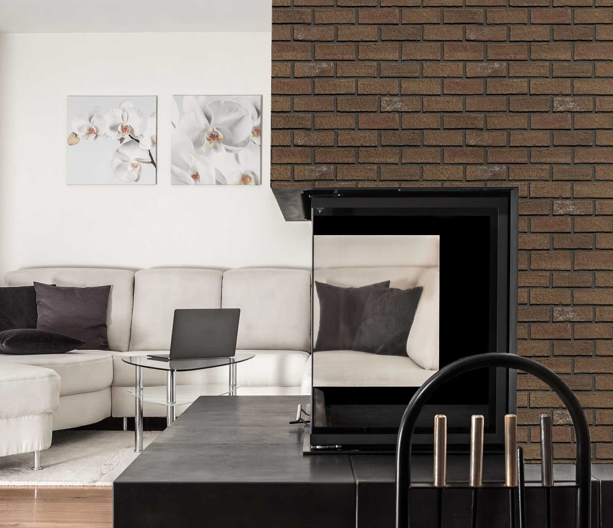 brick panel fireplace