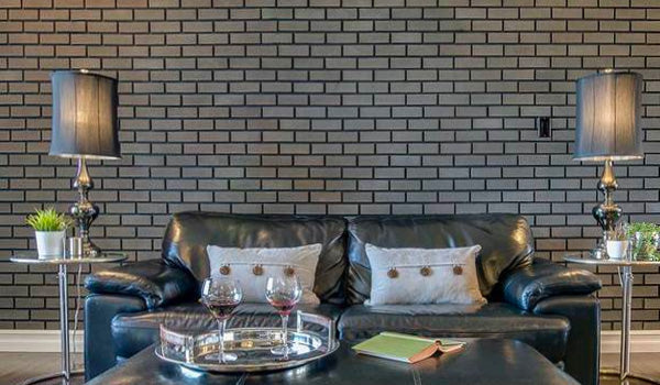 modern brick livingroom feature wall
