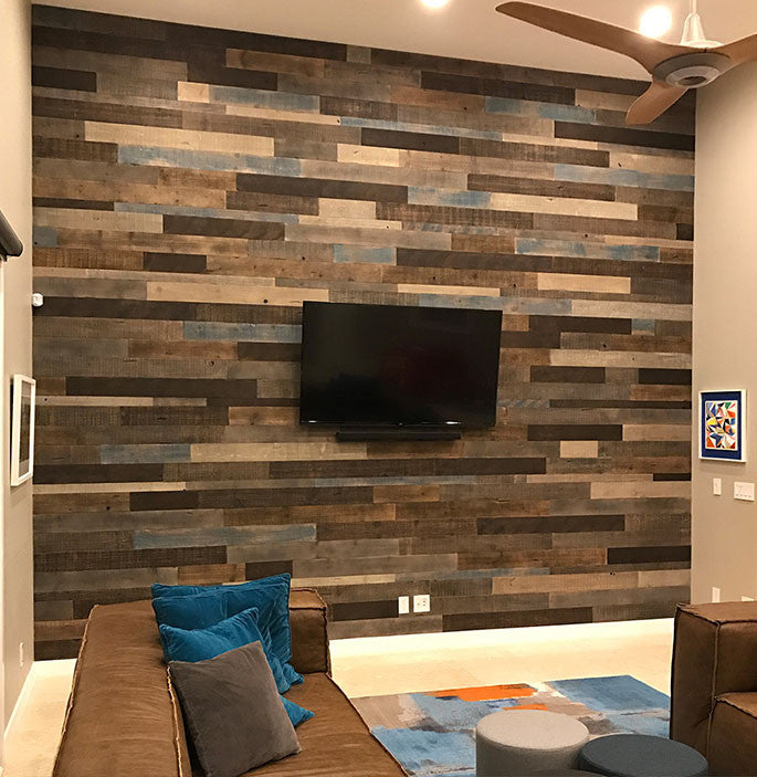 real reclaimed wood feature wall