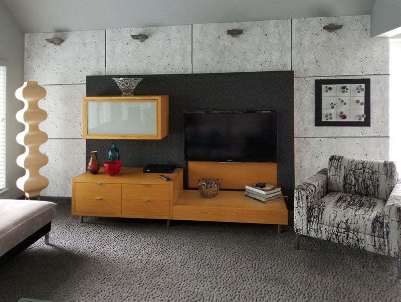 living room concrete feature wall