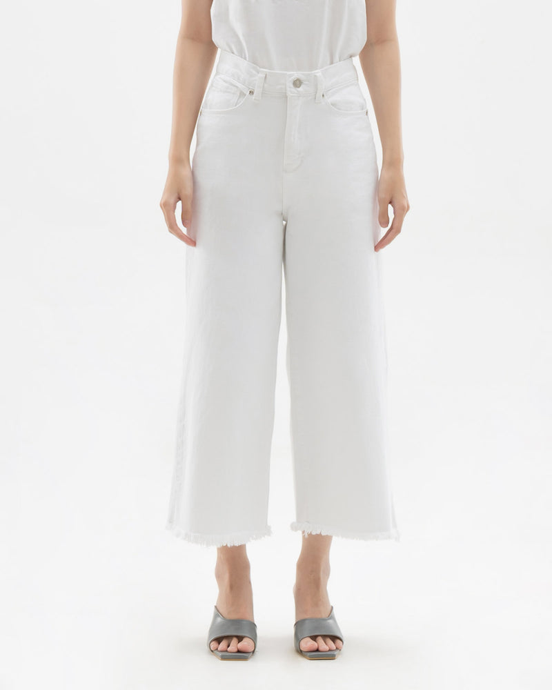 Han White Denim Cullote Pants