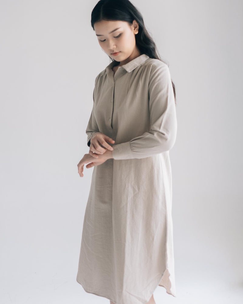 Aika Linen Beige Dress