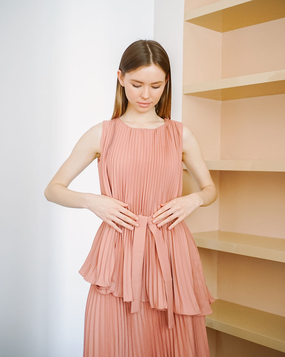 Ashley Pleats Pink Dress