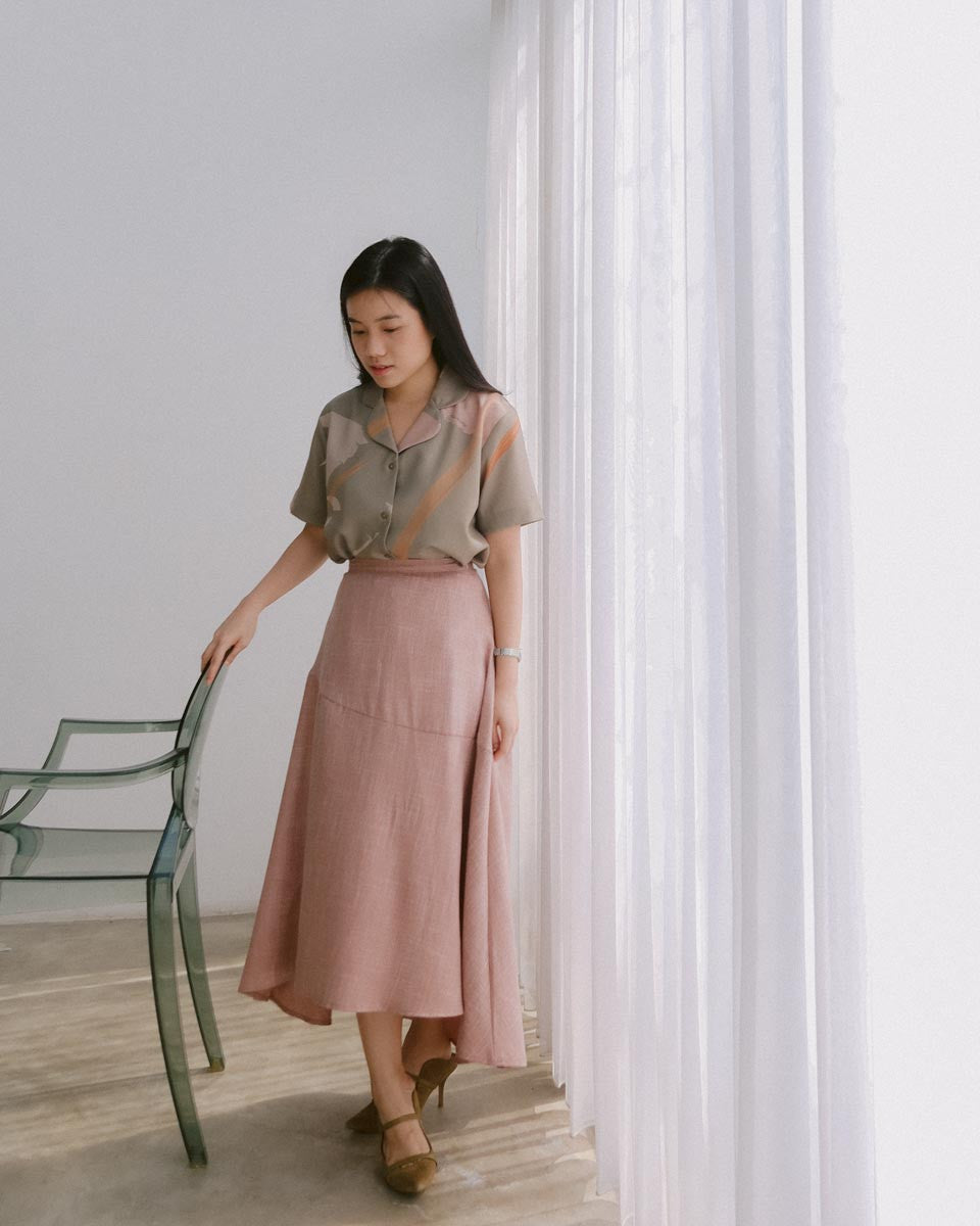 Gale Rose Linen Skirt