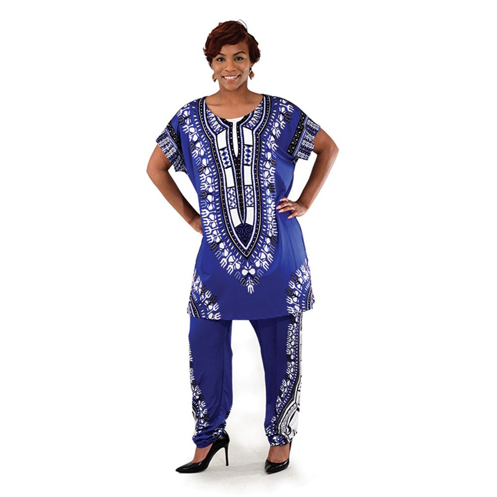 Plus-Sized Traditional Print Pant Set