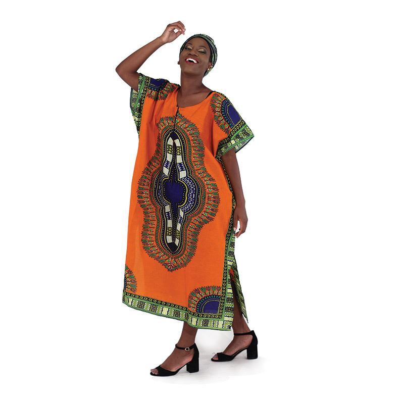Traditional Print Zipper Kaftan