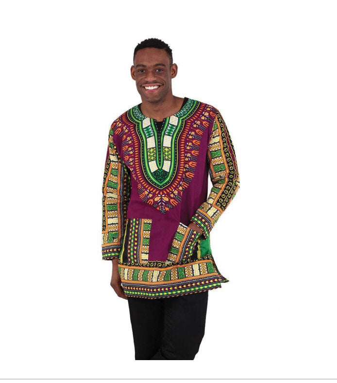 Traditional Print Long-Sleeve Dashiki