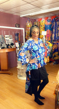 Load image into Gallery viewer, Extreme Hi-Lo Ankara Blouse/ With Hair Tie