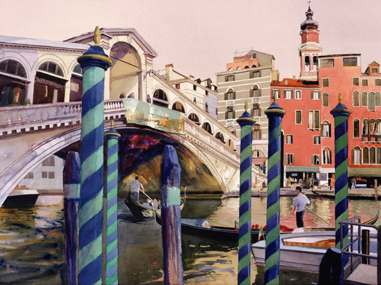 REDUCED TO CLEAR : Bob Rudd, Rialto Bridge, Venice , Mounted Limited Edition Giclee Print