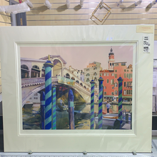 Load image into Gallery viewer, REDUCED TO CLEAR : Bob Rudd, Rialto Bridge, Venice , Mounted Limited Edition Giclee Print