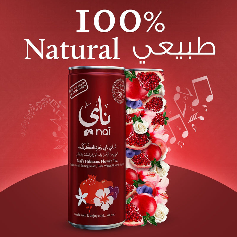 Nai's Hibiscus Pomegranate Rose Iced Tea, 100% Natural, Ready-to-Drink, 250ml Can, Pack of 4 – Sugar Free