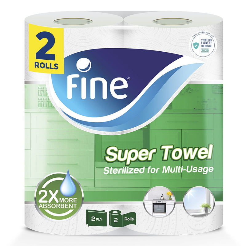 Fine, Paper Towel - Super Towel, Sterilized, 60 sheets x 2 Ply, pack of 2 rolls