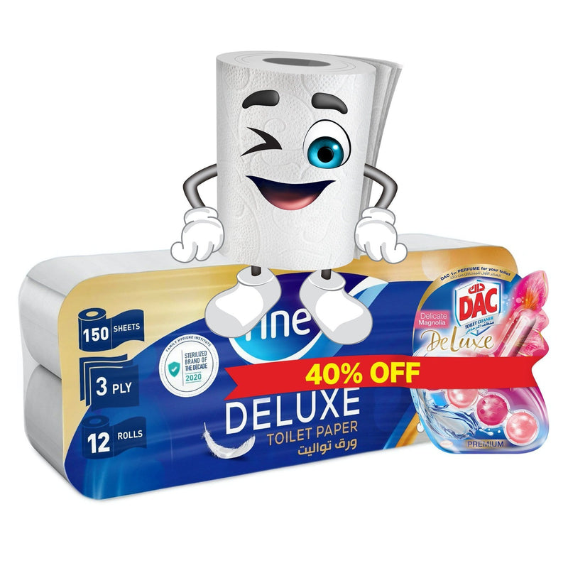 Promo Bundle, Fine Sterilized Toilet Paper, Deluxe, Pack of 12 + DAC Delicate Magnolia Rim block Toilet Cleaner