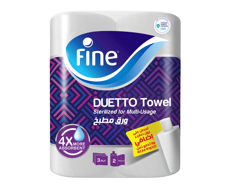 Fine Duetto, Sterilized Kitchen Towel, Highly Absorbent, 3 Ply, 80 sheets, 2 Rolls