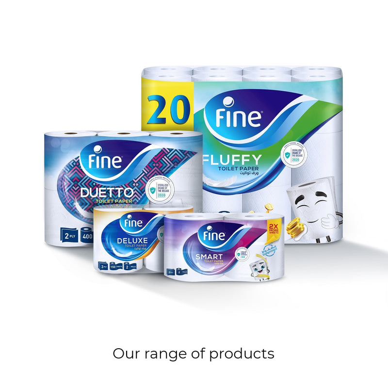 Fine, Toilet Paper, Deluxe, 150 sheets x3 Ply, pack of 4 rolls
