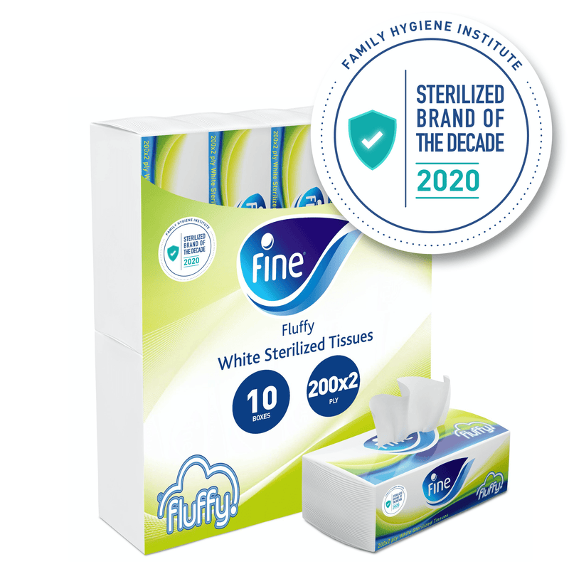 Fine Fluffy, Facial Tissues 200X2 Ply White Tissues, pack of 10 boxes, 2000 tissues