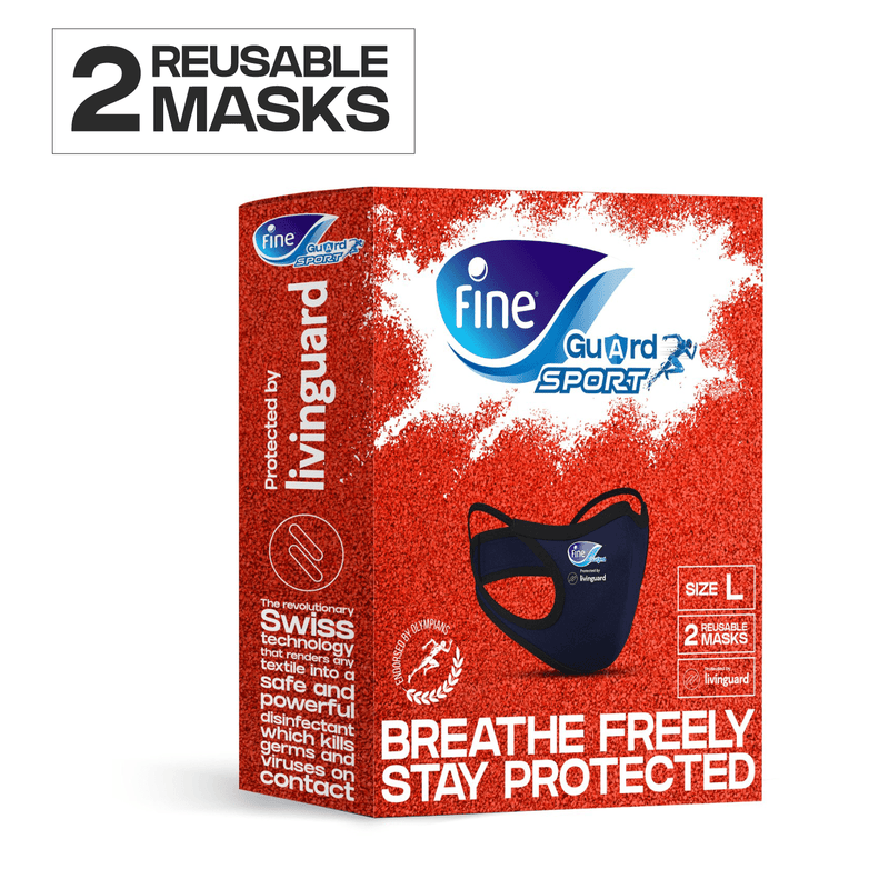 2 x Fine Guard Sport Face Masks With Livinguard Technology