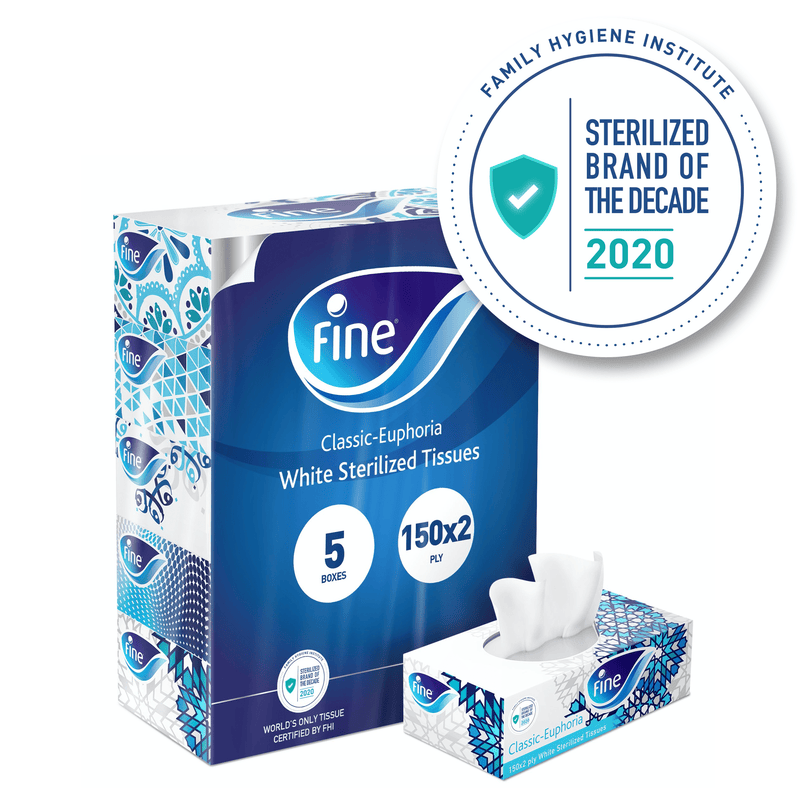 Fine, Facial Tissues, Classic Euphoria, 150x2 Ply White Tissues, pack of 5 boxes, 750 tissues