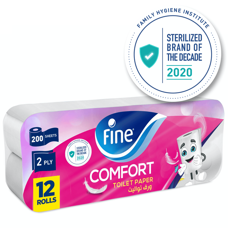 Fine, Toilet Paper, Comfort, 200 sheets x2 Ply, pack of 12 rolls