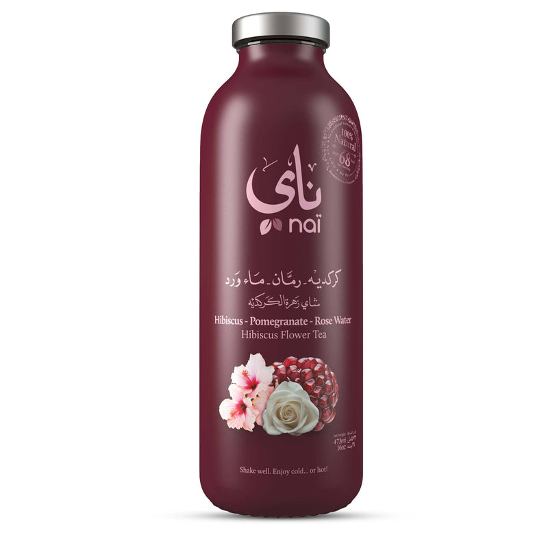 Nai's Hibiscus Pomegranate Rose Iced Tea, 100% Natural, Ready-to-Drink, 473ml Glass Bottle