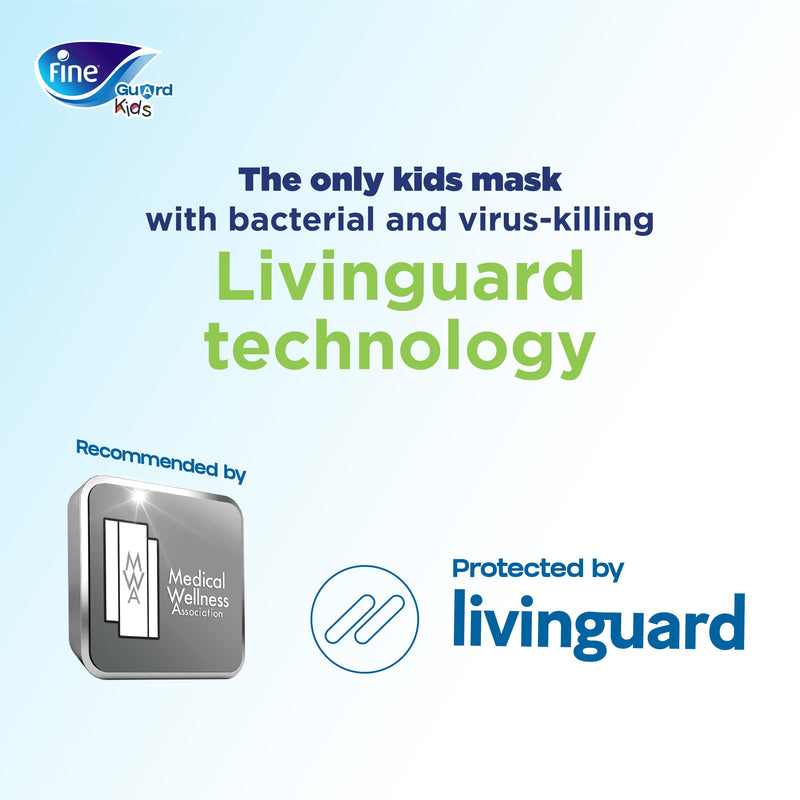 Fine Guard Reusable Kids Face Mask With Livinguard Technology, Limited Edition - Small (Blue/Green)