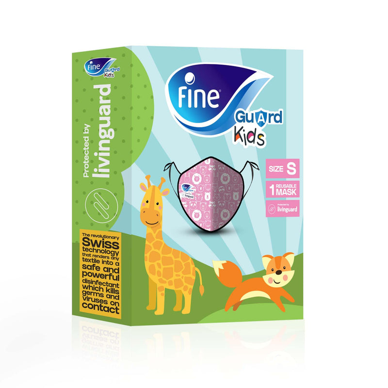 Fine Guard Reusable Kids Face Mask With Livinguard Technology, Limited Edition - Small (Orange/Pink)